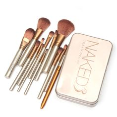 Retail Metal box 2016 7/12pcs/set naked3/5 Makeup Cosmetic Brushes Set professional Powder Foundation Eyeshadow Lip Brush Tool