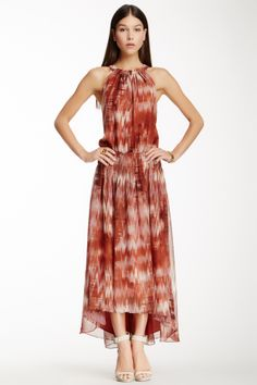 """Finn Printed Silk Maxi Dress in java by Elizabeth & James $485 - $185 @HauteLook. - Crew halter neck - Keyhole back with top snap button closure - Smocked waist - Hi-lo hem - Allover print - Lined - 8"""" shortest length, 58"""" longest length Model's stats: - Height: 5'8"""" - Bust: 32"""" - Waist: 23"""" - Hips: 32.5"""" Model is wearing size S. Dry clean. Self: 100% silk. Combo: 100% silk. Lining: 100% polyester."""