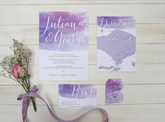 Watercolor wedding invitation ideas | Purple Watercolor by Pine Paperie | http://www.bridestory.com/pine-paperie/projects/purple-watercolor