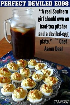 DEVILED EGGS-The Southern Lady Cooks.-Perfect sidedish for any meal. Deviled eggs are a favorite food on holidays, for family gatherings, picnics, and as a side dish for any meal. A classic deviled egg recipe that includes sweet pickle relish. Basic Deviled Eggs Recipe, Perfect Deviled Eggs, Finger Food Appetizers, Appetizer Recipes, Southern Recipes, Southern Quotes, Egg Recipes, Cooking Recipes, Cooking Bread