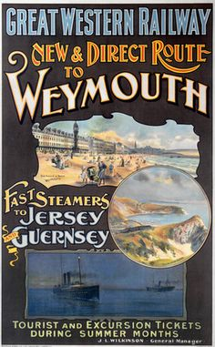 'New & Direct Route to Weymouth', GWR poster, 1923-1947. | Museum quality art prints, canvases, postcards, mugs | SSPL Science and Society P...