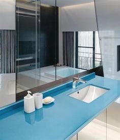 Lava Stone Countertop, Mirrors, Sink