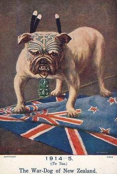 WW1 poster: The War-Dog of New Zealand (note Maori Tiki pendant on neck)