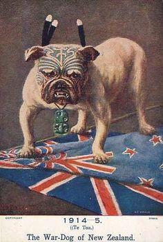 WW1 poster: The War-Dog of New Zealand (note Maori Tiki pendant on neck)