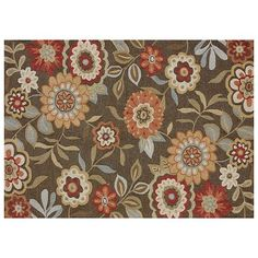 Loloi Rugs Francesca x Rectangle Synthetic Hand Hooked Tran Brown Home Decor Rugs Area Rugs White Area Rug, Beige Area Rugs, Modern Floral Design, Transitional Area Rugs, Polyester Rugs, Family Room Design, Brown Rug, Floral Rug, Home Decor