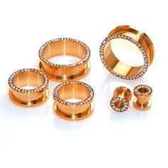 Pair of Rose Gold-Anodized Surgical Steel Ear Tunnel Plugs with Clear... ($14) ❤ liked on Polyvore featuring jewelry, earrings, cubic zirconia earrings, silicone jewelry, surgical steel jewelry, cubic zirconia jewelry and rose gold earrings