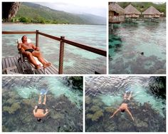 Bart on the deck and below snorkeling at our over the water private bungalow at the Le Meridian Hotel in Papeete, Tahiti