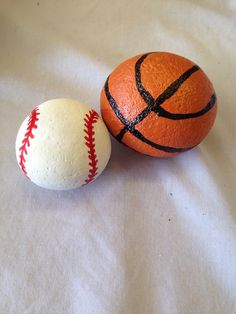 SNS DESIGNS painted rocks baseball and basketball