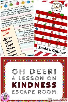 """Oh No! Santa's reindeer are on the Naughty List! Can you help them learn to be more kind to others? Students will work in teams to help the reindeer practice making """"I"""" Statements, using Empathy, and Caring Communication. In this Escape Room style lesson, teams will receive cookies from Mrs. Claus as they solve each puzzle to reinforce the Golden Rule. #Kindness #Compassion #Empathy #ClassroomGuidance #EscapeRoom #teamwork #Holidays #Santa #OhDeer #CreativeCounselor #CreativeCounselingResources Elementary School Counselor, Elementary Schools, Peer Mediation, Team Building Skills, Teaching Kindness, I Am Statements, Oh Deer, Santa And Reindeer, Golden Rule"""