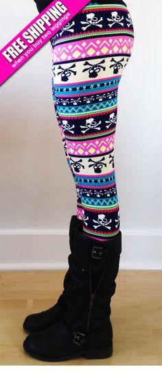 FREE SHIPPING for 2 ! Womens leggings, yoga Leggings, printed leggings, Christmas Leggings, workout Leggings, aztec leggings, skull leggings by JillNicoleCo on Etsy https://www.etsy.com/listing/177971779/free-shipping-for-2-womens-leggings-yoga