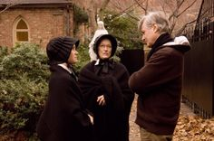 Still of Meryl Streep, Amy Adams and John Patrick Shanley in Doubt