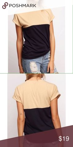 Color Block Tee This roll up sleeve color block t-shirt is perfect for dressing casual with jeans or dressing up for work! Tops Tees - Short Sleeve