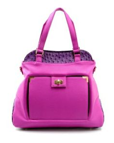 """Material: Synthetic or Leather. Price depends on fabric.  Dimensions: 18.5""""w x 5.5""""D x 13.5""""H    Body solid lilac, top and bottom dark purple.  Protected gold studded feet. Front Tablet pocket with gold clasp. Back Zipper Pocket. Inside ostrich patterned zip pockets, pen holders, cell phone holders, Key holder. Strap = 16.5"""" Imported. Order Code: CASPUR"""