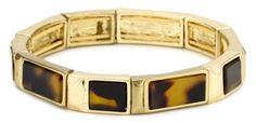 """Anne Klein """"Ridley"""" Gold-Tone Tortoise Colored Stretch Bracelet - Anne, bracelet, Colored, GoldTone, Klein, Ridley, Stretch, Tortoise - http://designerjewelrygalleria.com/anne-klein-jewelry/anne-klein-ridley-gold-tone-tortoise-colored-stretch-bracelet/"""