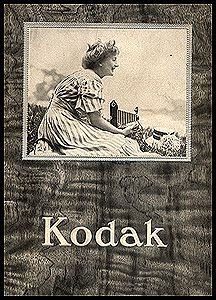 """1909 Kodak Catalog. From 1908 through the 1920s catalogs prominently featured a woman with a camera. 5 x 7"""", 64 pages."""