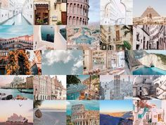 Travel aesthetic photo wall collage kit- digital download