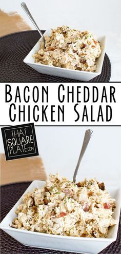 Cheddar Chicken Salad Chicken salad with an indulgent mix of cheddar, bacon, and chives throughout.Chicken salad with an indulgent mix of cheddar, bacon, and chives throughout. Low Carb Recipes, Cooking Recipes, Healthy Recipes, Fast Recipes, Meal Prep Plans, Tasty, Yummy Food, Chicken Salad Recipes, Chicken Salads