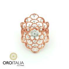 Anillo de brillantes en oro rosado.  Para precios llámanos al 302-0269 (Costa del Este) ref. 211809   #oroitalia #joyería #oro #gold #joyeríaspanamá #jewelry #panama #anillo #diamantes #diamonds #ororosado #ring #pinkgold