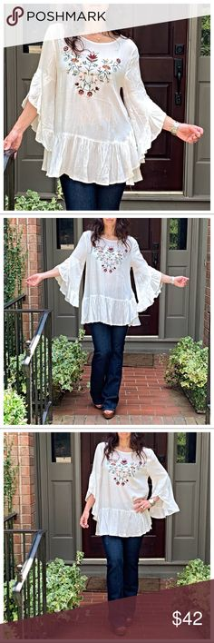 3b0af9d919c Bohemian embroidered bell sleeves tunic top Bohemian embroidered white bell  sleeves tunic top Modeling size small