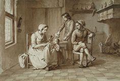 Family in a Kitchen, Willem Pieter Hoevenaar, c. 1830-1863 | Museum Boijmans Van Beuningen