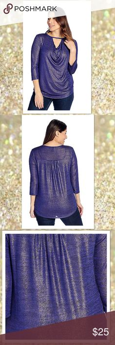 "2X Metallic Knit Keyhole Hi-Lo Top w 3/4 Sleeves 2X > Spice things up with this marvelous blue/gold metallic number! A draped keyhole neckline, 3/4 length sleeves and a flattering hi-lo hem add to the awesome appeal of this look. Plus it's covered in just the right amount of metallic shimmer that screams sophisticated style with shine. Pair it with everything from denim to dress pants. Size: 📍Bust 50"" / Waist: 45"" / Hips: 54 Color: 💙 Blue/Gold - Royal blue with gold-tone stitching and…"
