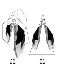 fashion portfolio // Stephanie Lai -like this idea of creating obscure shapes to inspire a garment silhouette Illustration Mode, Fashion Illustration Sketches, Fashion Sketchbook, Design Illustrations, Drawing Fashion, Sketchbook Layout, Sketchbook Inspiration, Sketchbook Ideas, Design Inspiration