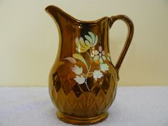 Copper Luster Pitcher with Flowers Wade England by Saltofmotherearth on Etsy