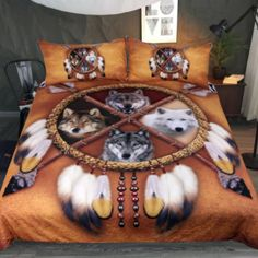 Choose Your Wolf Bedding Set Native American Bedroom, Native American Decor, Wolf Dreamcatcher, Dreamcatcher Design, Brown Duvet Covers, Bed Covers, Comforter Cover, Duvet Cover Sets, Western Bedding