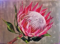 Acrylic on canvas by Molawrenson Protea Art, South African Artists, King Art, Acrylic Art, Art Oil, Watercolor Flowers, Art Tutorials, Painting Inspiration, Flower Art