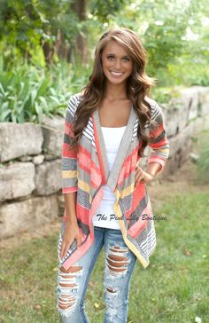 The Pink Lily Boutique - A Change In Seasons Cardigan Coral, $30.00 (http://thepinklilyboutique.com/a-change-in-seasons-cardigan-coral/)
