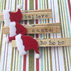 Santa Clothespin Magnets Set of 3