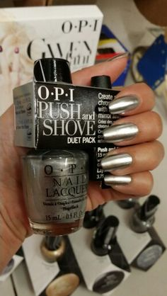 Want a chrome nail look. This is what you have been looking. OPI Push and shove from Gwen Stefani collection.