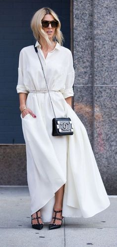 white maxi button down dress.