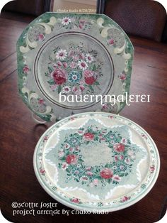 Bauernmalerei Austrian Style Plate and Cake Stand
