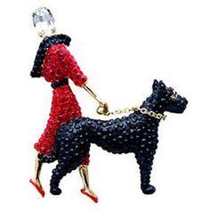 Butler  Wilson Large Crystal Lady  Dog Brooch Red: BUTLER  WILSON: Amazon.co.uk: Jewellery £90