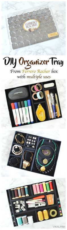 DIY organizer tray from Ferrero Rocher box with multiple uses