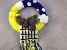 Teddybear sleeping on  the moon with his blanket Crochet Wreath - Ready to Ship - Nursery Decor - sleeping bear - decorative wreath by Teddywings on Etsy