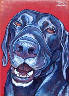 Black #Labrador custom pet portrait in acrylic paint on canvas, 5x7