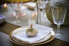 We'd have the groom's in silver and mine in gold.... since he likes silver more than I do XD    Autumn Wedding Ideas: Pumpkin Decor   Intimate Weddings - Small Wedding Blog - DIY Wedding Ideas for Small and Intimate Weddings - Real Small Weddings