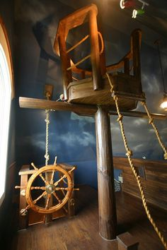 Bed Overboard! Kids Bedroom Features Floating Pirate Ship | Designs & Ideas on Dornob