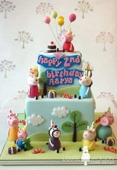 Peppa Pig Cake Ideas - Party With Friends Cake Birthday Party Cake, Peppa Pig, George Cake Peppa Pig, Tortas Peppa Pig, Cumple Peppa Pig, Peppa Pig Birthday Cake, First Birthday Cakes, 3rd Birthday Parties, 2nd Birthday, Birthday Ideas, Peppa E George