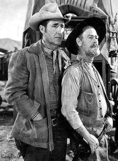 """RAWHIDE (CBS-TV) - Sheb Wooley as trail scout, """"Pete Nolan"""" & Paul Brinegar as trail cook, """"Wishbone"""""""