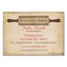 my latest business card design for bakers and bakeries has vintage rustic appeal