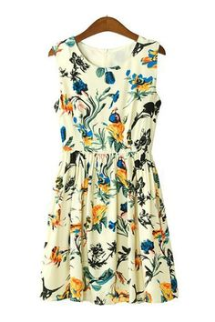 Floral Printing Sleeveless Dress