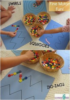Fine Motor Work Station or Centre Activity - Baby Activities , Fine Motor Work Station or Centre Activity simple and engaging fine motor activity using buttons and pattern lines Motorik. Motor Skills Activities, Gross Motor Skills, Craft Activities, Preschool Crafts, Toddler Activities, Fine Motor Activities For Kids, Kids Motor, Fine Motor Activity, Pre School Activities