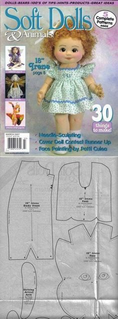 Five free soft doll patterns!..FREE BOOK!!