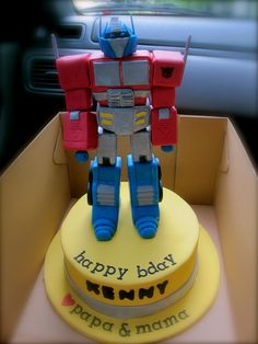 Inspired Photo of Optimus Prime Birthday Cake . Optimus Prime Birthday Cake Optimus Prime Cakes Decoration Ideas Little Birthday Cakes Cake Decorating Icing, Birthday Cake Decorating, Cake Decorating Techniques, Optimus Prime, Novelty Birthday Cakes, Cool Birthday Cakes, 5th Birthday, Birthday Ideas, Cupcakes