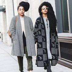 """Great personal style.  #streetstyle #coat #blackandwhite #pattern #elegant…"