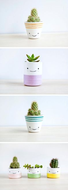 Happy planters are her thing. Explore the shop of Spain-based ceramicist, Noe Marin. #PotteryPainting