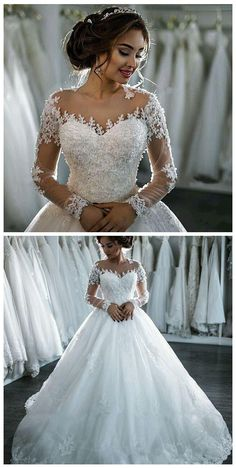 wedding dresses, Sheer Jewel-Neck wedding dress,2017 New Hot